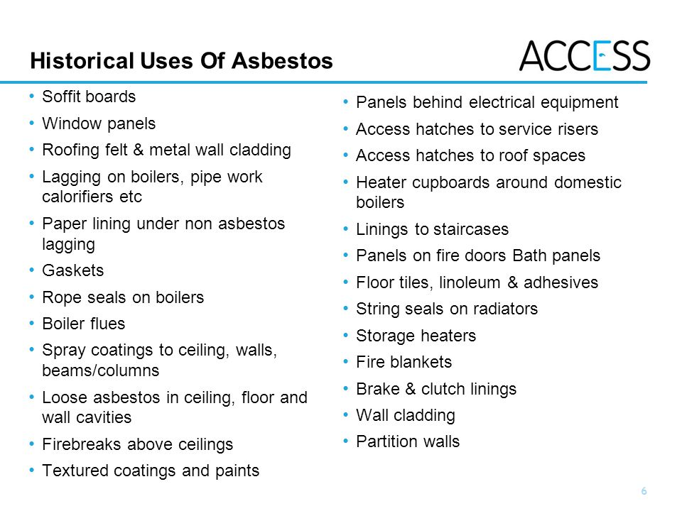 7 Slide 7 Materials Containing Asbestos 2.Fire doors fireproofing 1.