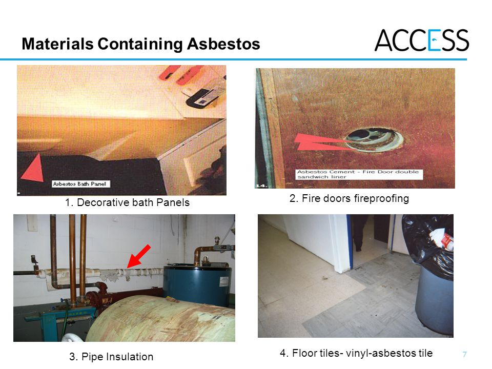 7 Slide 7 Materials Containing Asbestos 2. Fire doors fireproofing 1.