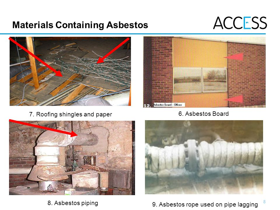 8 Slide 8 Materials Containing Asbestos 7. Roofing shingles and paper 6.
