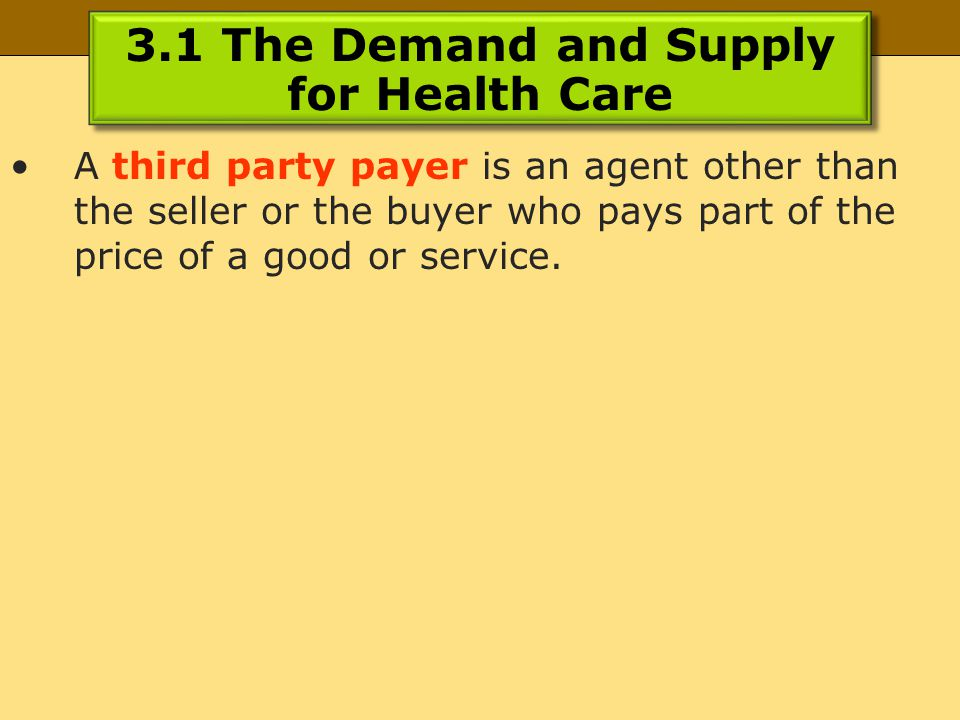 3.1 The Demand and Supply for Health Care A third party payer is an agent other than the seller or the buyer who pays part of the price of a good or service.