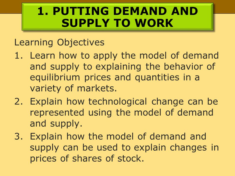 1. PUTTING DEMAND AND SUPPLY TO WORK Learning Objectives 1.Learn how to apply the model of demand and supply to explaining the behavior of equilibrium