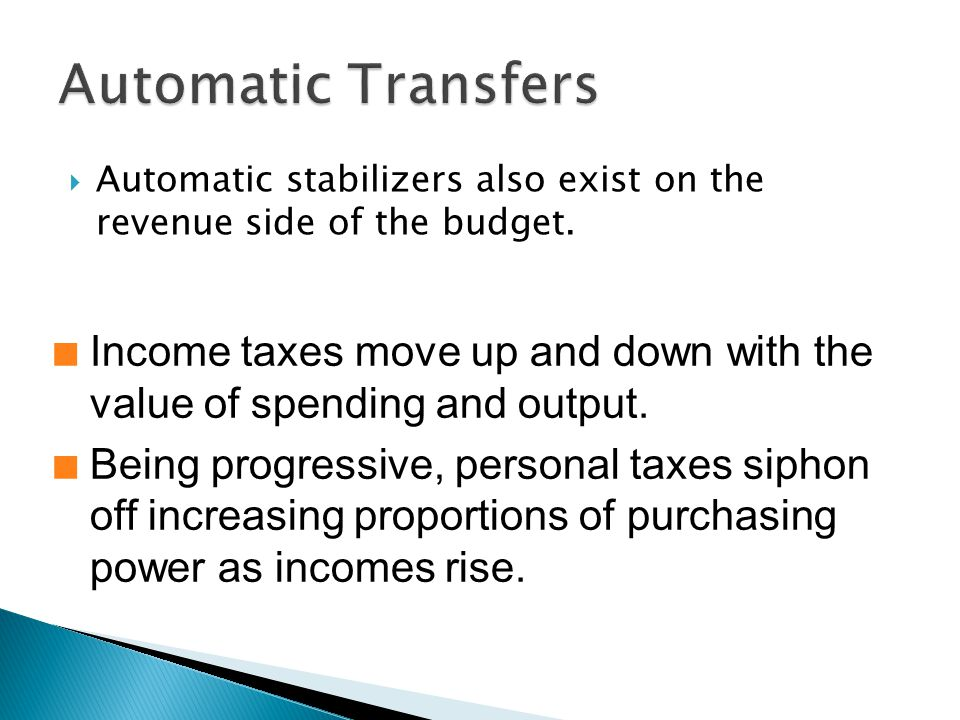 Automatic stabilizers also exist on the revenue side of the budget.