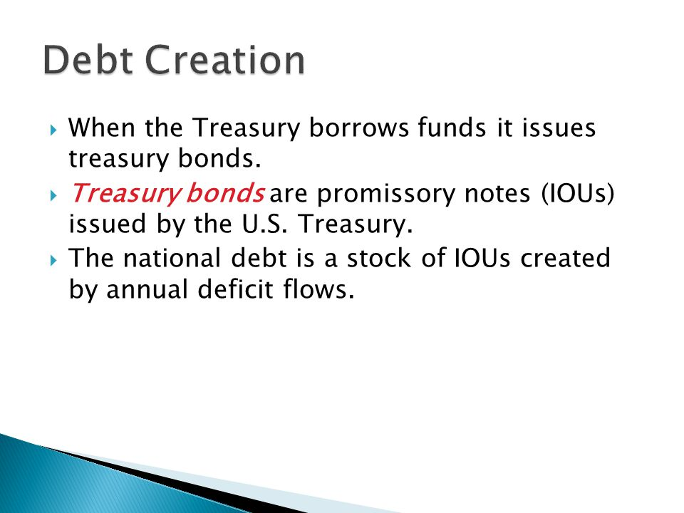 When the Treasury borrows funds it issues treasury bonds.