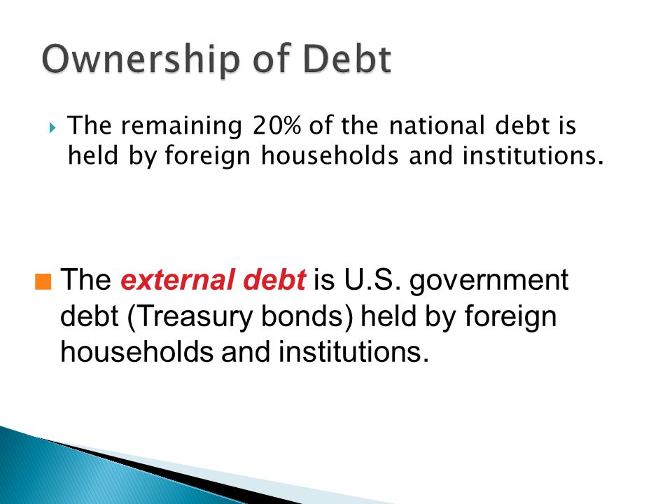 The remaining 20% of the national debt is held by foreign households and institutions.
