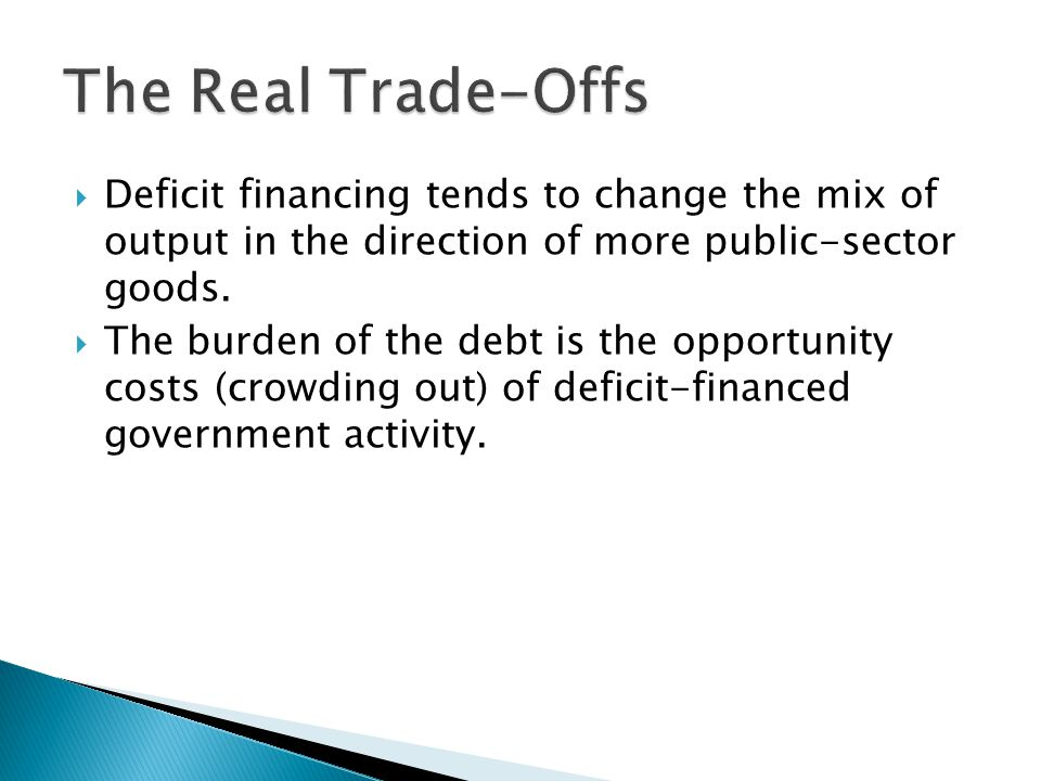 Deficit financing tends to change the mix of output in the direction of more public-sector goods.