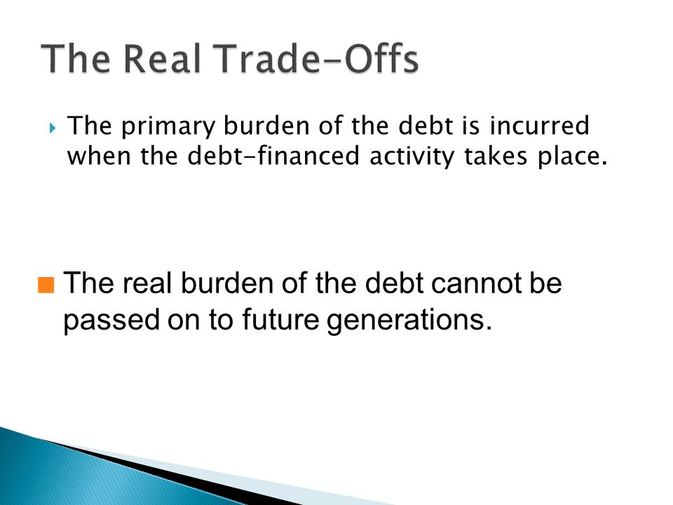 The primary burden of the debt is incurred when the debt-financed activity takes place.