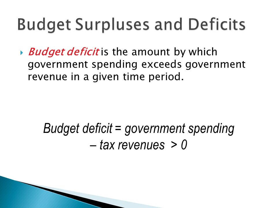 Budget deficit is the amount by which government spending exceeds government revenue in a given time period.