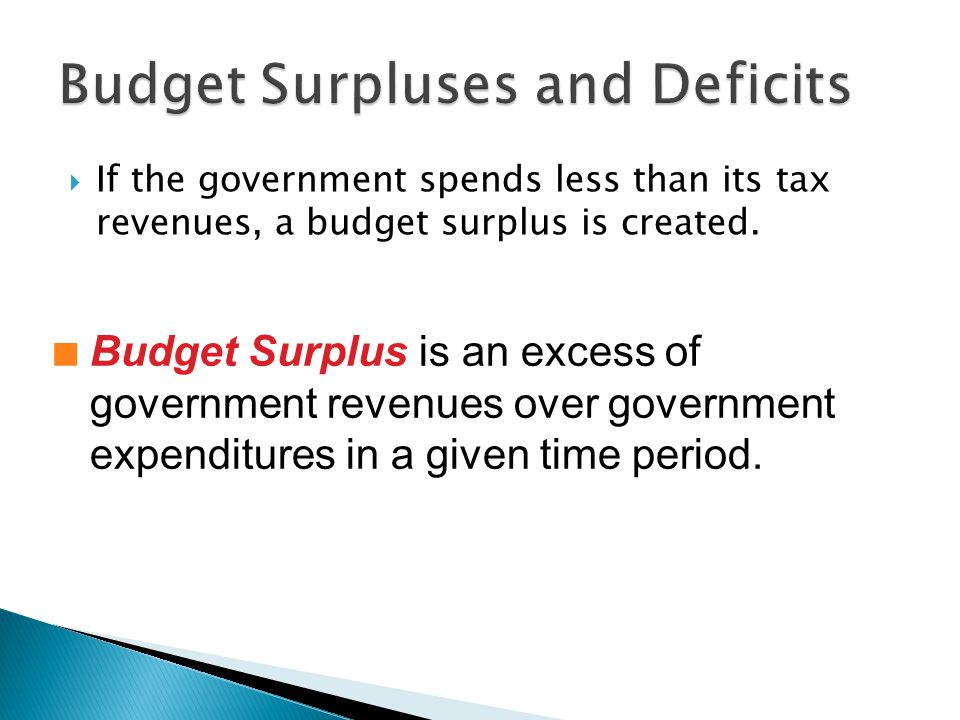 If the government spends less than its tax revenues, a budget surplus is created.