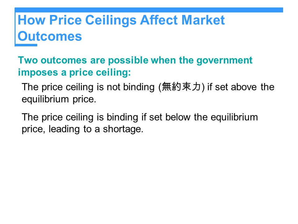 Figure 1 A Market with a Price Ceiling (a) A Price Ceiling That Is Not Binding Quantity of Ice-Cream Cones 0 Price of Ice-Cream Cone Equilibrium quantity $4 Price ceiling Equilibrium price Demand Supply 3 100 The market clears at $3 and the price ceiling is ineffective.