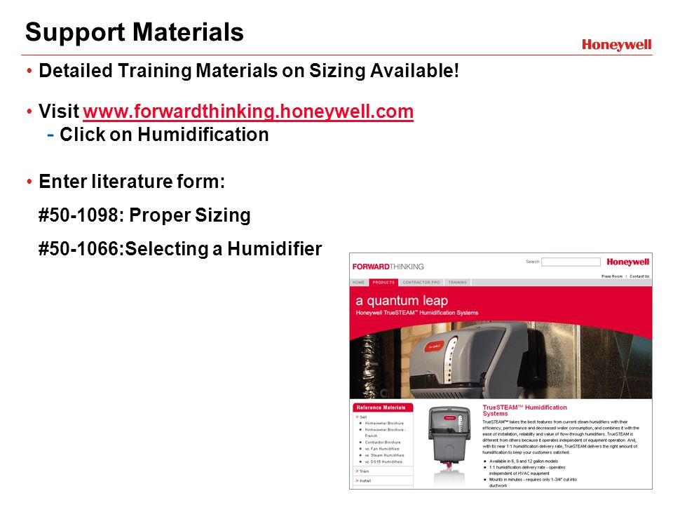 Support Materials Detailed Training Materials on Sizing Available.