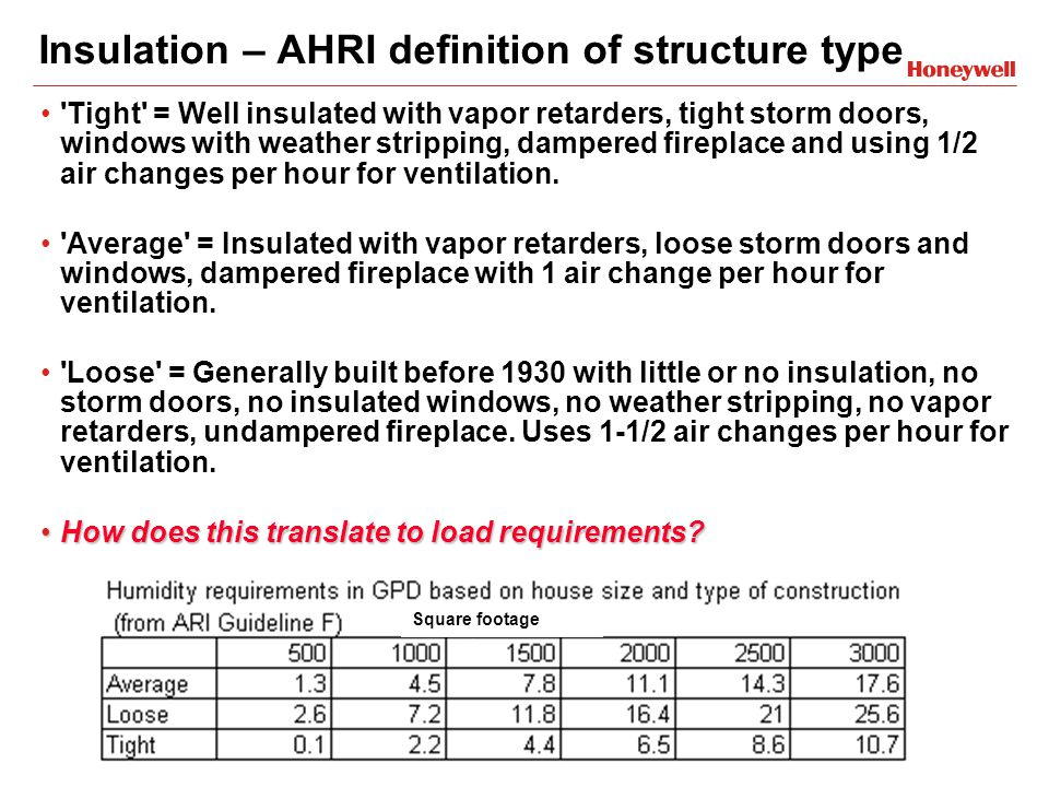 Insulation – AHRI definition of structure type Tight = Well insulated with vapor retarders, tight storm doors, windows with weather stripping, dampered fireplace and using 1/2 air changes per hour for ventilation.