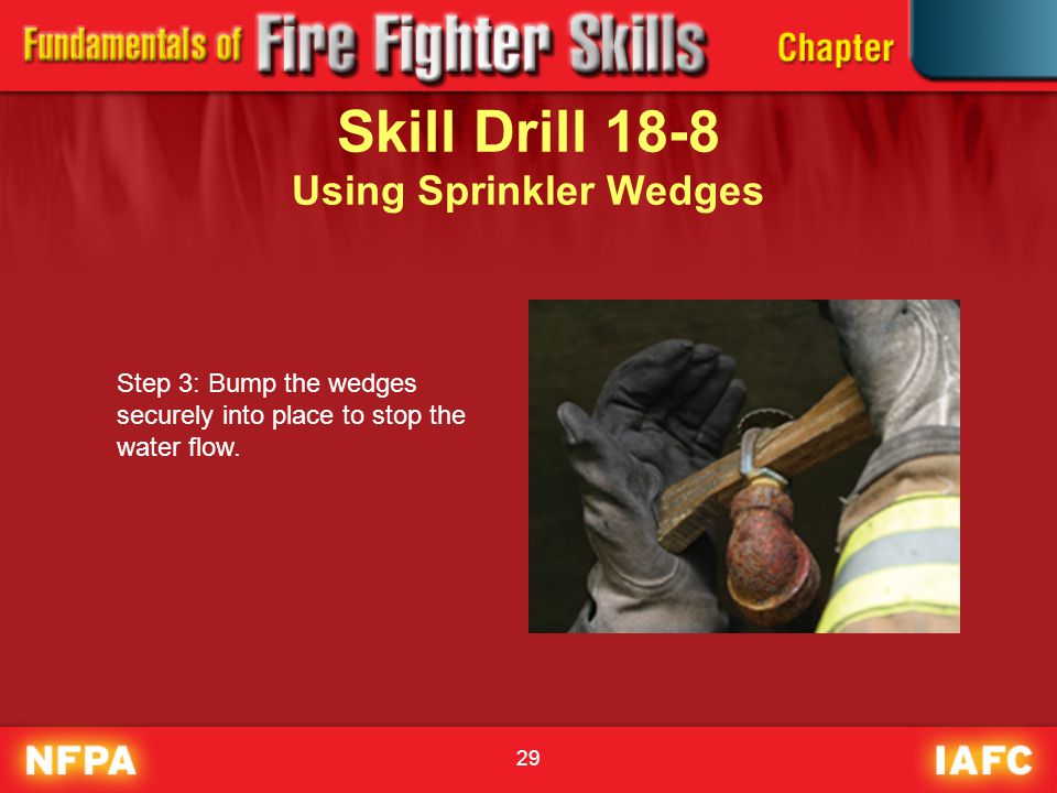 29 Skill Drill 18-8 Using Sprinkler Wedges Step 3: Bump the wedges securely into place to stop the water flow.