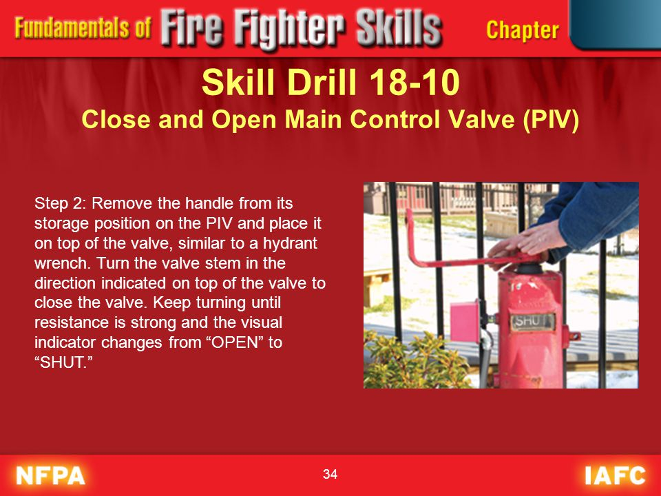 34 Skill Drill 18-10 Close and Open Main Control Valve (PIV) Step 2: Remove the handle from its storage position on the PIV and place it on top of the