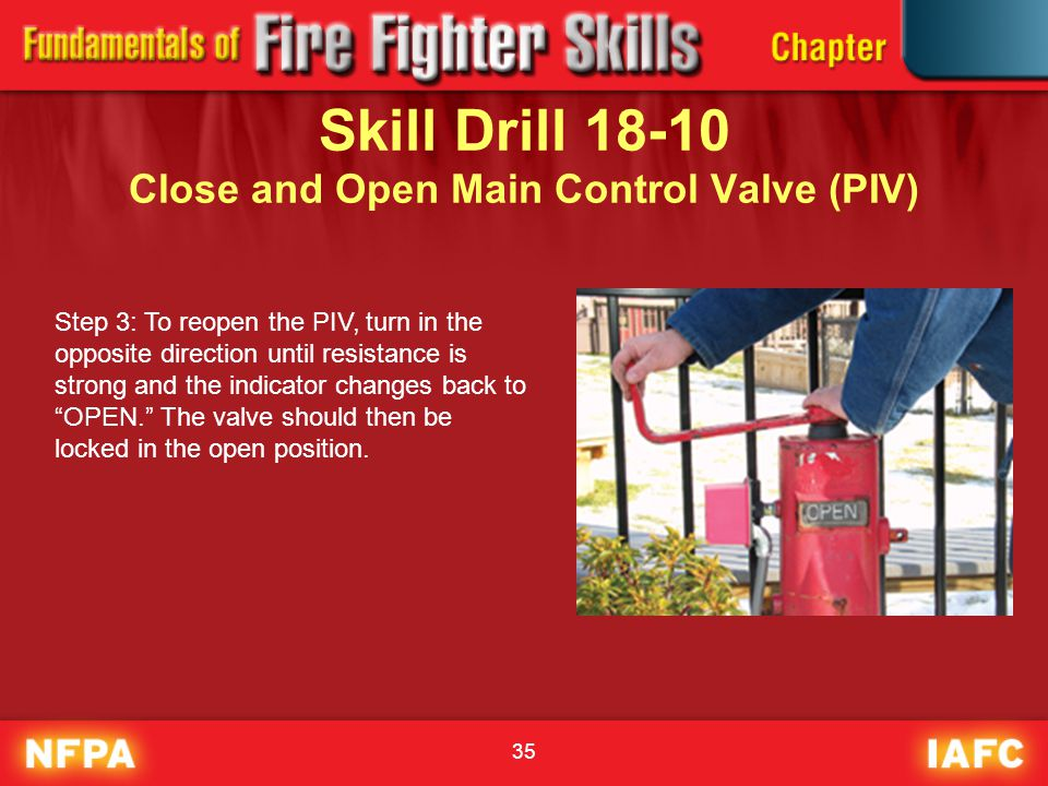 35 Skill Drill 18-10 Close and Open Main Control Valve (PIV) Step 3: To reopen the PIV, turn in the opposite direction until resistance is strong and