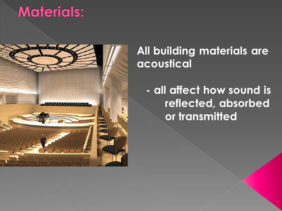 All building materials are acoustical - all affect how sound is reflected, absorbed or transmitted