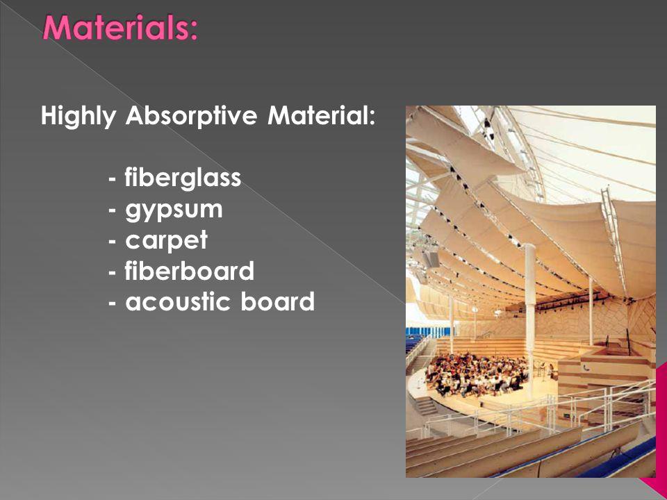 Highly Absorptive Material: - fiberglass - gypsum - carpet - fiberboard - acoustic board