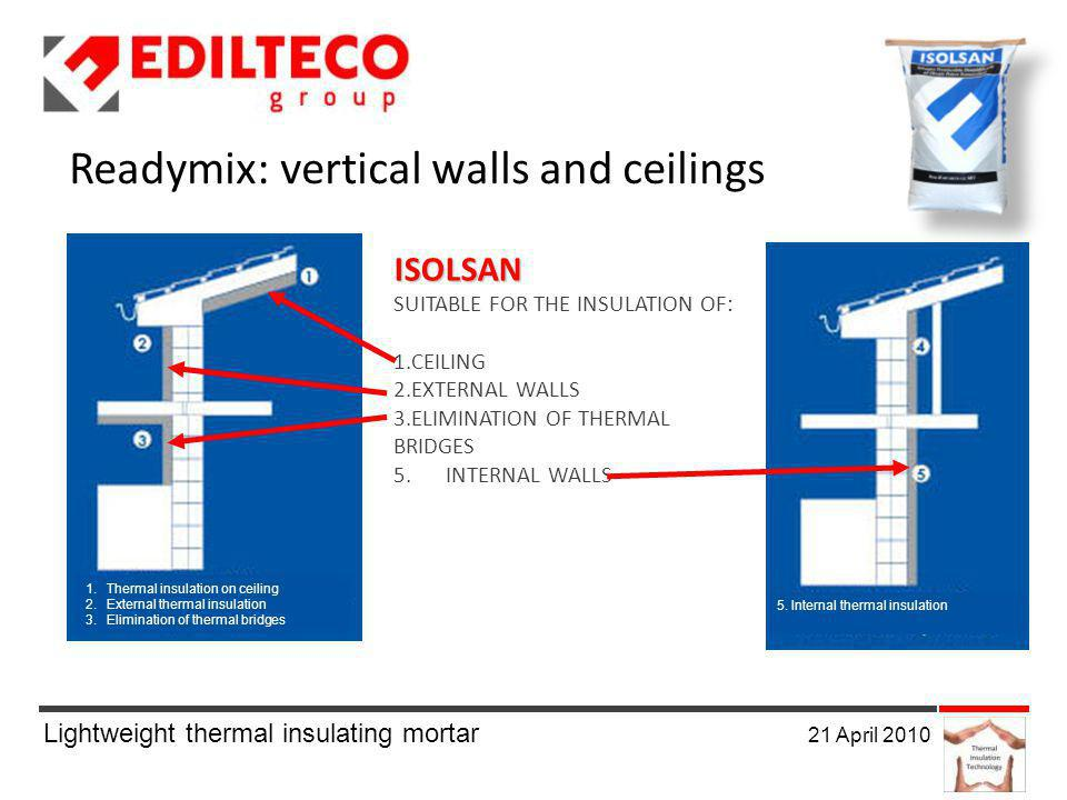 Lightweight thermal insulating mortar 21 April 2010 1.Thermal insulation on ceiling 2.External thermal insulation 3.Elimination of thermal bridges 5.
