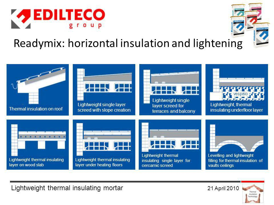 Lightweight thermal insulating mortar 21 April 2010 Thermal insulation on roof Lightweight single layer screed with slope creation Lightweight single layer screed for terraces and balcony Lightweight, thermal insulating underfloor layer Lightweight thermal insulating layer on wood slab Lightweight thermal insulating layer under heating floors Lightweight thermal insulating single layer for cercamic screed Levelling and lightweight filling for thermal insulation of vaults ceilings Readymix: horizontal insulation and lightening