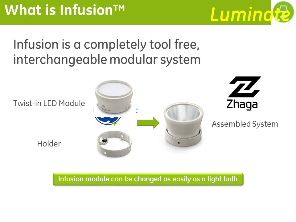 What is Infusion Infusion is a completely tool free, interchangeable modular system + Twist-in LED Module Holder Assembled System Infusion module can be changed as easily as a light bulb Luminate