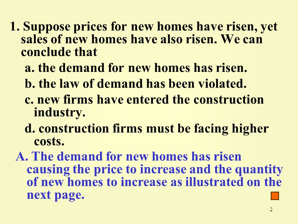 2 1. Suppose prices for new homes have risen, yet sales of new homes have also risen.