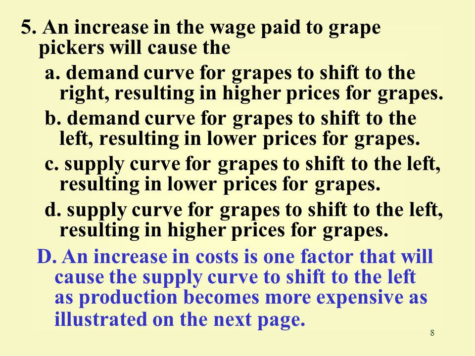 8 5. An increase in the wage paid to grape pickers will cause the a. demand curve for grapes to shift to the right, resulting in higher prices for gra