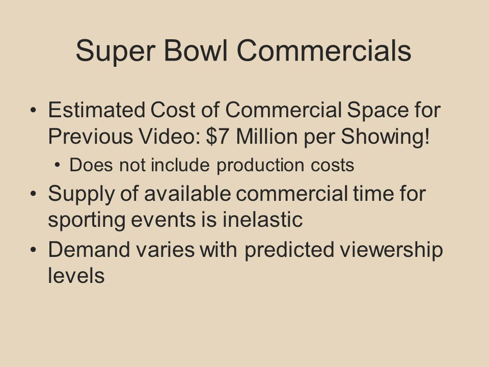Super Bowl Commercials Estimated Cost of Commercial Space for Previous Video: $7 Million per Showing! Does not include production costs Supply of avai