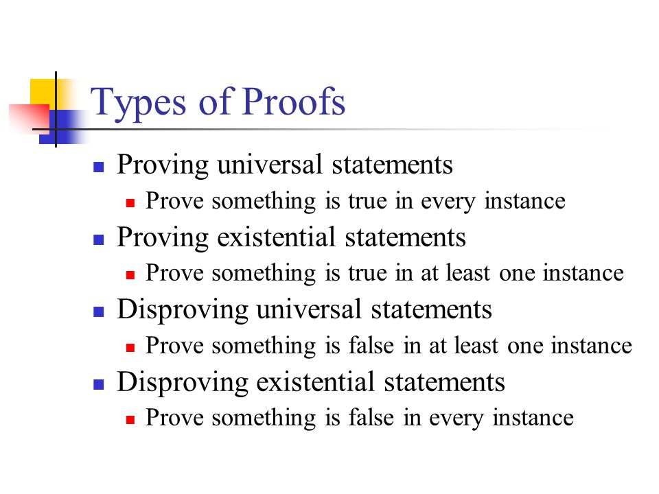 Types of Proofs Proving universal statements Prove something is true in every instance Proving existential statements Prove something is true in at le