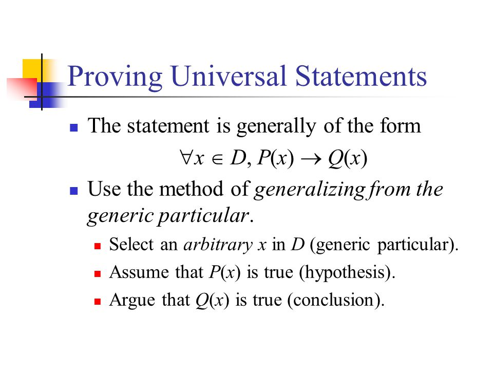Disproving Universal Statements Construct an instance for which the statement is false.