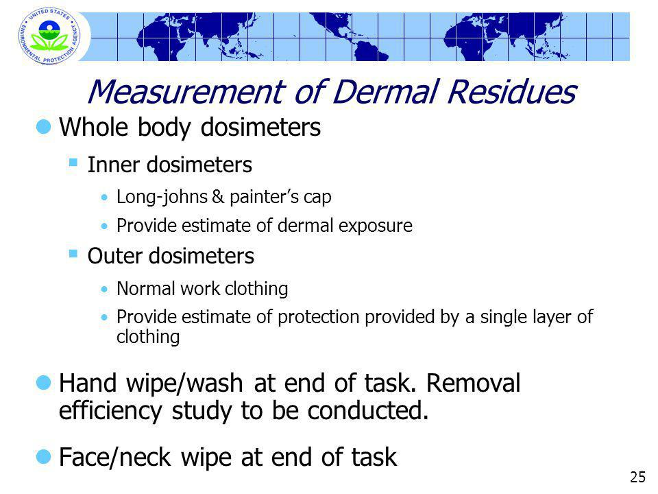 25 Measurement of Dermal Residues Whole body dosimeters Inner dosimeters Long-johns & painters cap Provide estimate of dermal exposure Outer dosimeters Normal work clothing Provide estimate of protection provided by a single layer of clothing Hand wipe/wash at end of task.