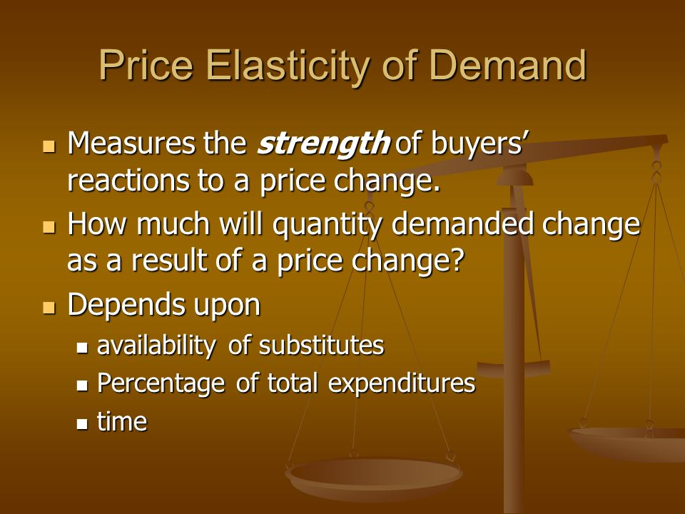 Price Elasticity of Demand Measures the strength of buyers reactions to a price change.