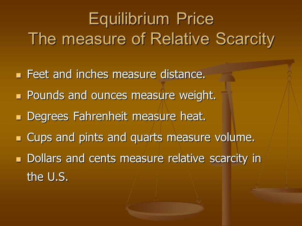 Equilibrium Price The measure of Relative Scarcity Feet and inches measure distance.