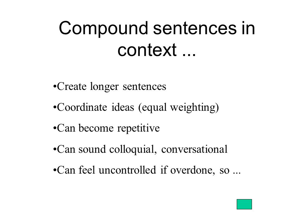 Compound sentences in context...
