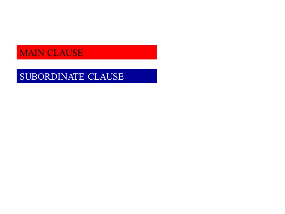 MAIN CLAUSE SUBORDINATE CLAUSE