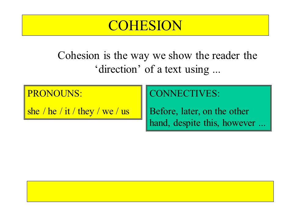 COHESION Cohesion is the way we show the reader the direction of a text using... PRONOUNS: she / he / it / they / we / us CONNECTIVES: Before, later,