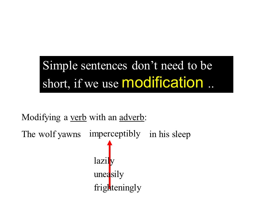 Modifying a verb with an adverb: The wolf yawns in his sleep lazily uneasily frighteningly imperceptibly Simple sentences dont need to be short, if we