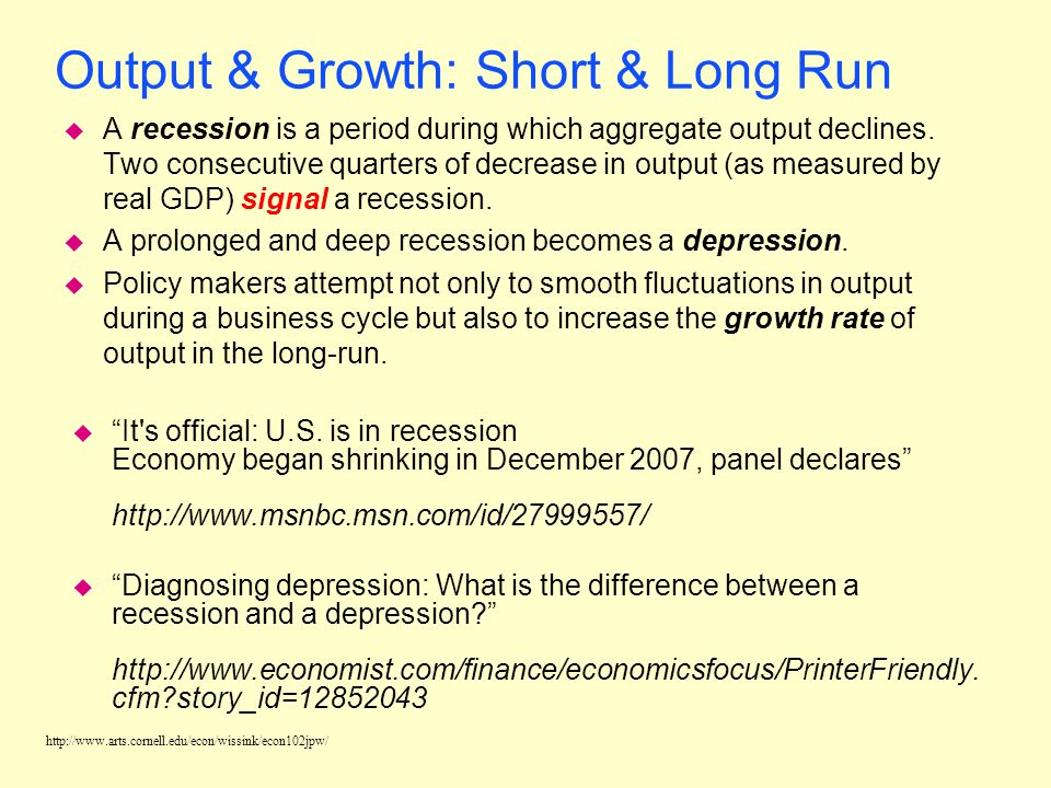 http://www.arts.cornell.edu/econ/wissink/econ102jpw/ Output & Growth: Short & Long Run u The business cycle is the cycle of short-term ups and downs i