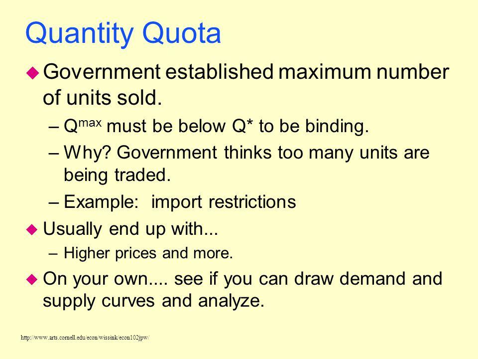 http://www.arts.cornell.edu/econ/wissink/econ102jpw/ Quantity Quota u Government established maximum number of units sold.