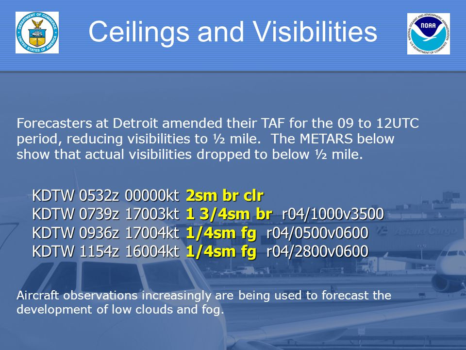 Forecasters at Detroit amended their TAF for the 09 to 12UTC period, reducing visibilities to ½ mile. The METARS below show that actual visibilities d