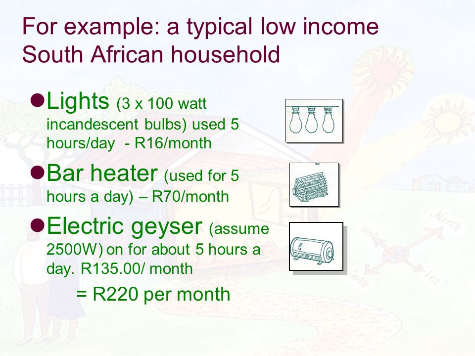 For example: a typical low income South African household Lights (3 x 100 watt incandescent bulbs) used 5 hours/day - R16/month Bar heater (used for 5 hours a day) – R70/month Electric geyser (assume 2500W) on for about 5 hours a day.