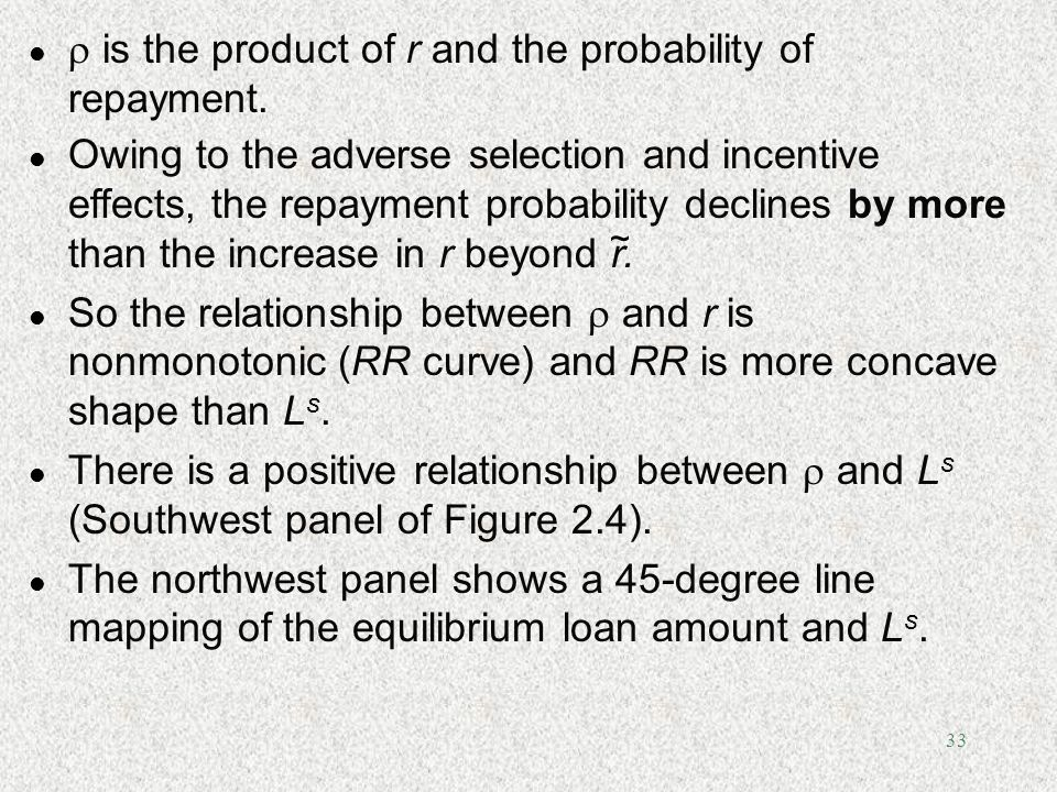 33 l is the product of r and the probability of repayment. l Owing to the adverse selection and incentive effects, the repayment probability declines