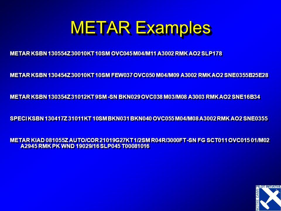 METAR Examples METAR KSBN 130554Z 30010KT 10SM OVC045 M04/M11 A3002 RMK AO2 SLP178 METAR KSBN 130454Z 30010KT 10SM FEW037 OVC050 M04/M09 A3002 RMK AO2 SNE0355B25E28 METAR KSBN 130354Z 31012KT 9SM -SN BKN029 OVC038 M03/M08 A3003 RMK AO2 SNE16B34 SPECI KSBN 130417Z 31011KT 10SM BKN031 BKN040 OVC055 M04/M08 A3002 RMK AO2 SNE0355 METAR KIAD 081055Z AUTO/COR 21019G27KT 1/2SM R04R/3000FT -SN FG SCT011 OVC015 01/M02 A2945 RMK PK WND 19029/16 SLP045 T00081016 METAR KSBN 130554Z 30010KT 10SM OVC045 M04/M11 A3002 RMK AO2 SLP178 METAR KSBN 130454Z 30010KT 10SM FEW037 OVC050 M04/M09 A3002 RMK AO2 SNE0355B25E28 METAR KSBN 130354Z 31012KT 9SM -SN BKN029 OVC038 M03/M08 A3003 RMK AO2 SNE16B34 SPECI KSBN 130417Z 31011KT 10SM BKN031 BKN040 OVC055 M04/M08 A3002 RMK AO2 SNE0355 METAR KIAD 081055Z AUTO/COR 21019G27KT 1/2SM R04R/3000FT -SN FG SCT011 OVC015 01/M02 A2945 RMK PK WND 19029/16 SLP045 T00081016