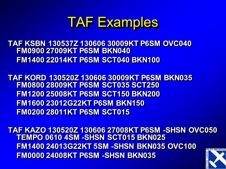 TAF Examples TAF KSBN 130537Z 130606 30009KT P6SM OVC040 FM0900 27009KT P6SM BKN040 FM1400 22014KT P6SM SCT040 BKN100 TAF KORD 130520Z 130606 30009KT P6SM BKN035 FM0800 28009KT P6SM SCT035 SCT250 FM1200 25008KT P6SM SCT150 BKN200 FM1600 23012G22KT P6SM BKN150 FM0200 28011KT P6SM SCT015 TAF KAZO 130520Z 130606 27008KT P6SM -SHSN OVC050 TEMPO 0610 4SM -SHSN SCT015 BKN025 FM1400 24013G22KT 5SM -SHSN BKN035 OVC100 FM0000 24008KT P6SM -SHSN BKN035 TAF KSBN 130537Z 130606 30009KT P6SM OVC040 FM0900 27009KT P6SM BKN040 FM1400 22014KT P6SM SCT040 BKN100 TAF KORD 130520Z 130606 30009KT P6SM BKN035 FM0800 28009KT P6SM SCT035 SCT250 FM1200 25008KT P6SM SCT150 BKN200 FM1600 23012G22KT P6SM BKN150 FM0200 28011KT P6SM SCT015 TAF KAZO 130520Z 130606 27008KT P6SM -SHSN OVC050 TEMPO 0610 4SM -SHSN SCT015 BKN025 FM1400 24013G22KT 5SM -SHSN BKN035 OVC100 FM0000 24008KT P6SM -SHSN BKN035