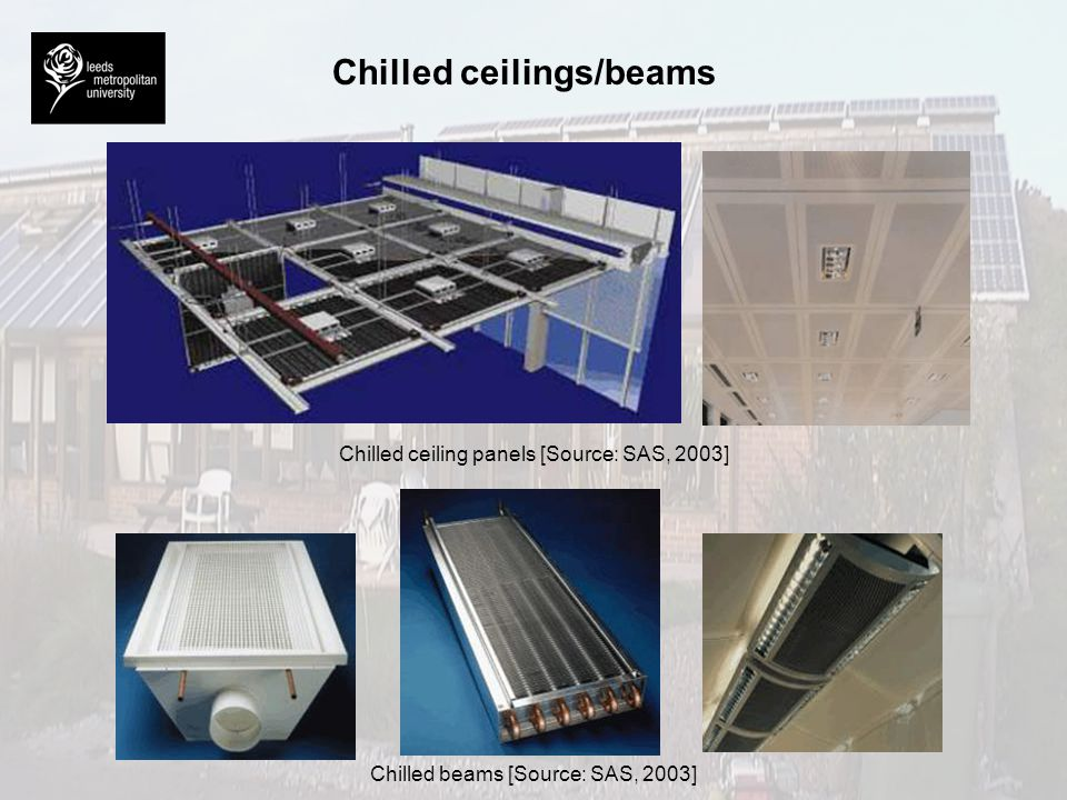Chilled ceilings/beams Chilled ceiling panels [Source: SAS, 2003] Chilled beams [Source: SAS, 2003]