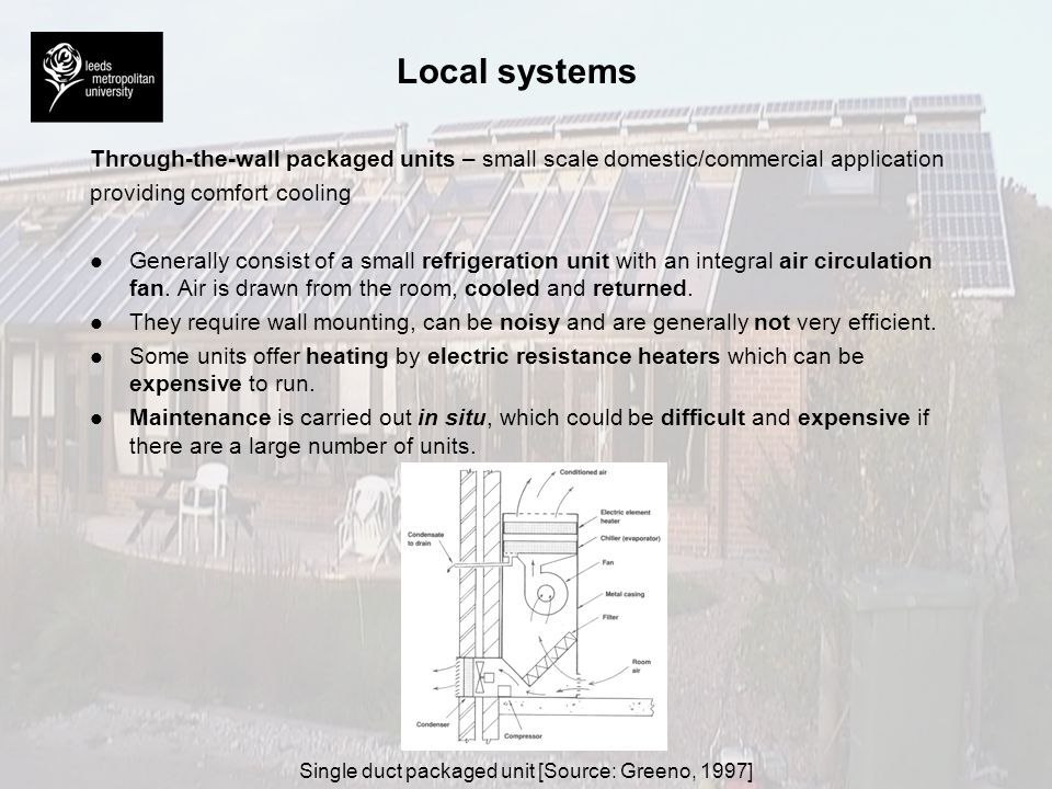 Local systems Through-the-wall packaged units – small scale domestic/commercial application providing comfort cooling l l Generally consist of a small