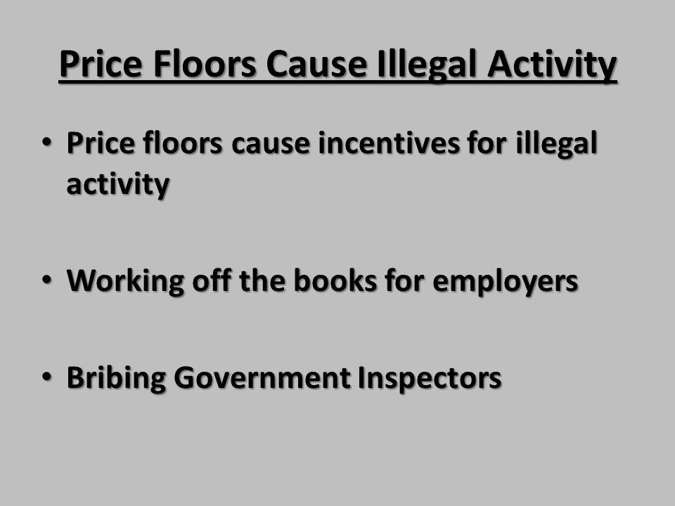 Price Floors Cause Illegal Activity Price floors cause incentives for illegal activity Price floors cause incentives for illegal activity Working off
