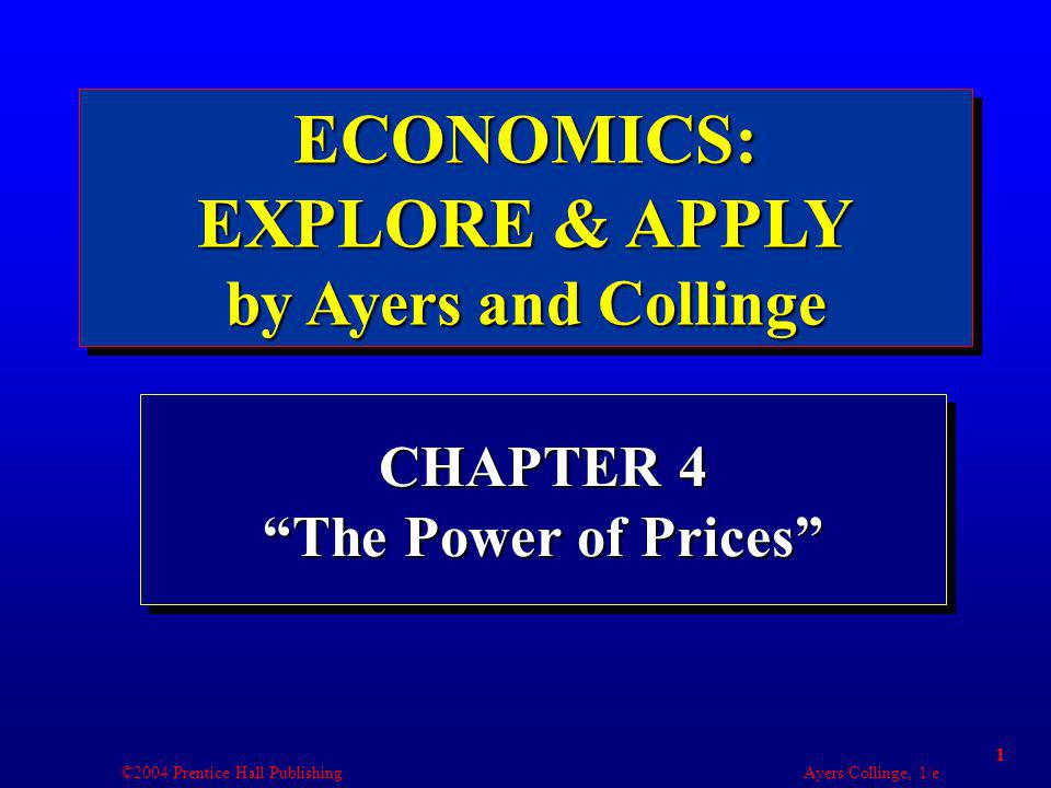 ©2004 Prentice Hall Publishing Ayers/Collinge, 1/e 2 Learning Objectives 1.Interpret how demand represents marginal benefit and supply marginal cost.