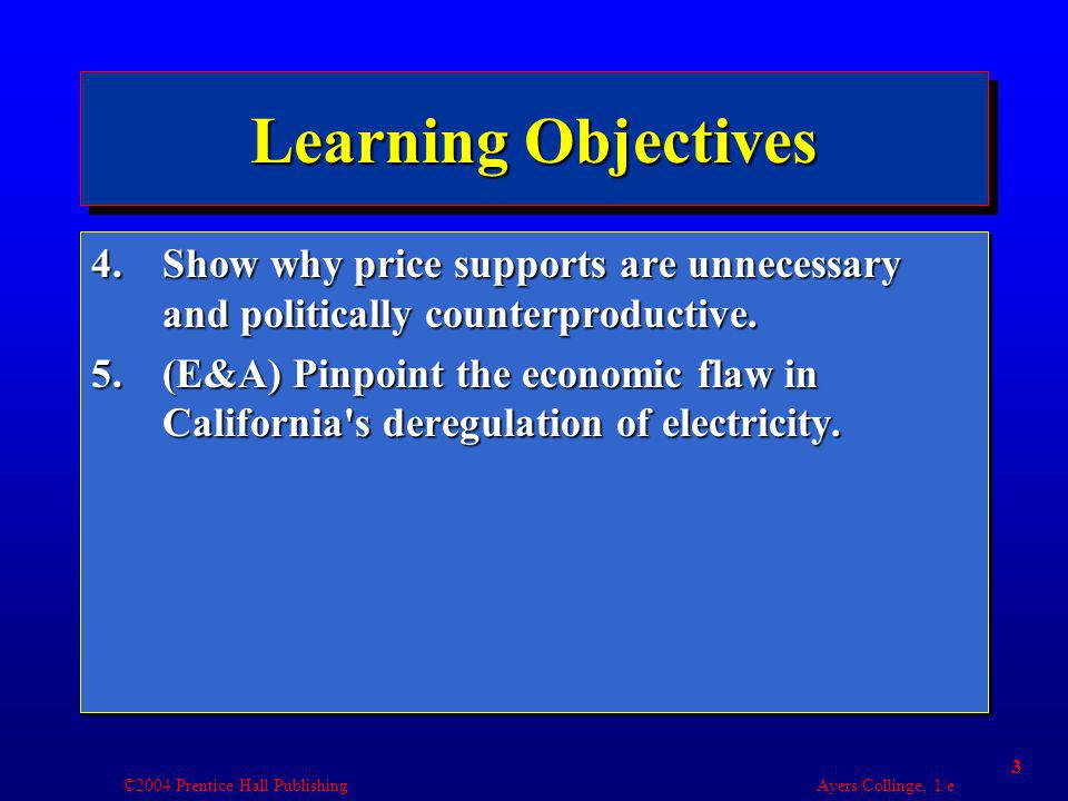 ©2004 Prentice Hall Publishing Ayers/Collinge, 1/e 14 Producer Surplus Price Quantity Sold $51 $7.502 $103 Total Cost Total Revenue Producer Surplus $5$5$0 $12.50$15$2.50 $22.50$30$7.50 Buddys supply of blue jeans.