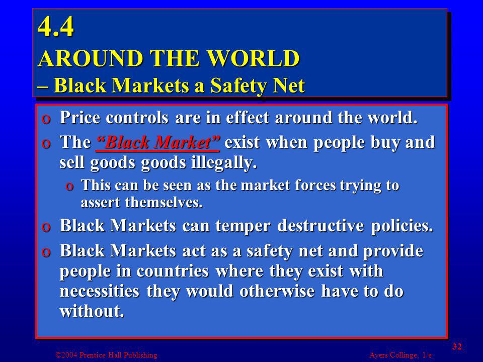 ©2004 Prentice Hall Publishing Ayers/Collinge, 1/e 32 4.4 AROUND THE WORLD – Black Markets a Safety Net oPrice controls are in effect around the world