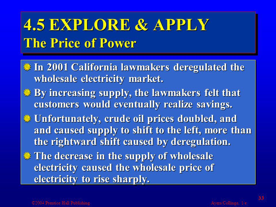 ©2004 Prentice Hall Publishing Ayers/Collinge, 1/e 33 4.5 EXPLORE & APPLY The Price of Power In 2001 California lawmakers deregulated the wholesale electricity market.