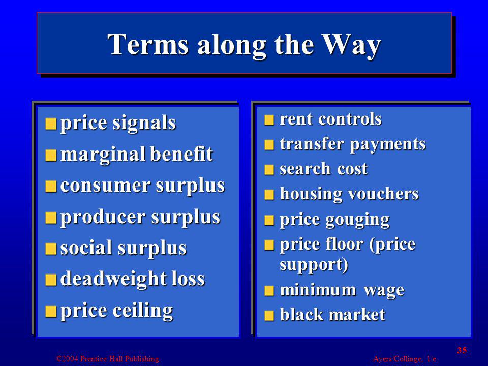 ©2004 Prentice Hall Publishing Ayers/Collinge, 1/e 35 Terms along the Way price signals marginal benefit consumer surplus producer surplus social surplus deadweight loss price ceiling price signals marginal benefit consumer surplus producer surplus social surplus deadweight loss price ceiling rent controls transfer payments search cost housing vouchers price gouging price floor (price support) minimum wage black market